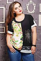 Блуза с цветком из стразов МАРИСА салатовая, фото 1
