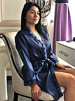 Атласный халат с кружевом темно-синий, фото 1
