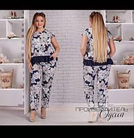 Летний брючный костюм из тонкой ткани софт, свободный крой блузы и брюк р.50,52,54,56 код 758О