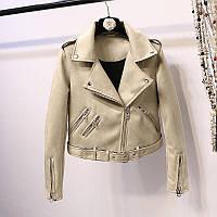 Женская замшевая куртка косуха AFTF BASIC бежевая M, фото 1