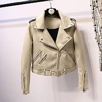 Женская замшевая куртка косуха AFTF BASIC бежевая XL, фото 1