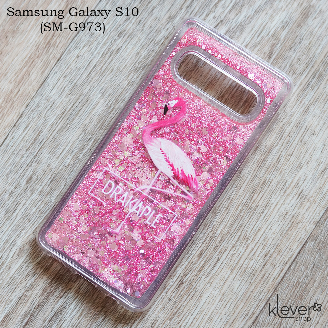 Чехол аквариум с плавающими блестками Drakaple для Samsung Galaxy S10 (SM-G973) (розовый)