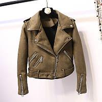 Женская замшевая куртка косуха AFTF BASIC хаки (зеленая) S, фото 1
