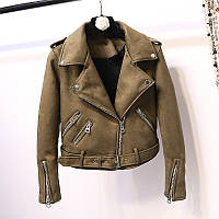 Женская замшевая куртка косуха AFTF BASIC хаки (зеленая) M