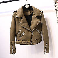 Женская замшевая куртка косуха AFTF BASIC хаки (зеленая) L