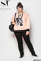 Спортивный костюм для полных женщин Двунитка Размер 52 54 56 58 60 62 В наличии 4 цвета, фото 1