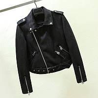 Жіноча замшева куртка-косуха AFTF BASIC чорна XL, фото 1