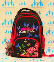 Ранец школьный ортопедический для девочки цветы 19-23-4