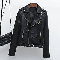 Женская куртка косуха из экокожи AFTF BASIC черная S, фото 1