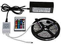 Светодиодная лента SMD 3528 RGB 5м + пульт + блок