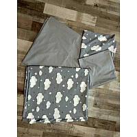 Комплект постельного белья  Тучки на сером, ранфорс люкс, разные размеры