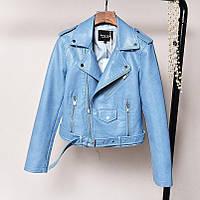 Женская куртка косуха из экокожи AFTF BASIC голубая L, фото 1