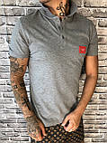 Стильная Мужская Футболка Поло Dolce & Gabbana серая Люкс Качество 100% Хлопок Модная Дольче Габбана реплика, фото 2