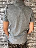 Стильная Мужская Футболка Поло Dolce & Gabbana серая Люкс Качество 100% Хлопок Модная Дольче Габбана реплика, фото 3