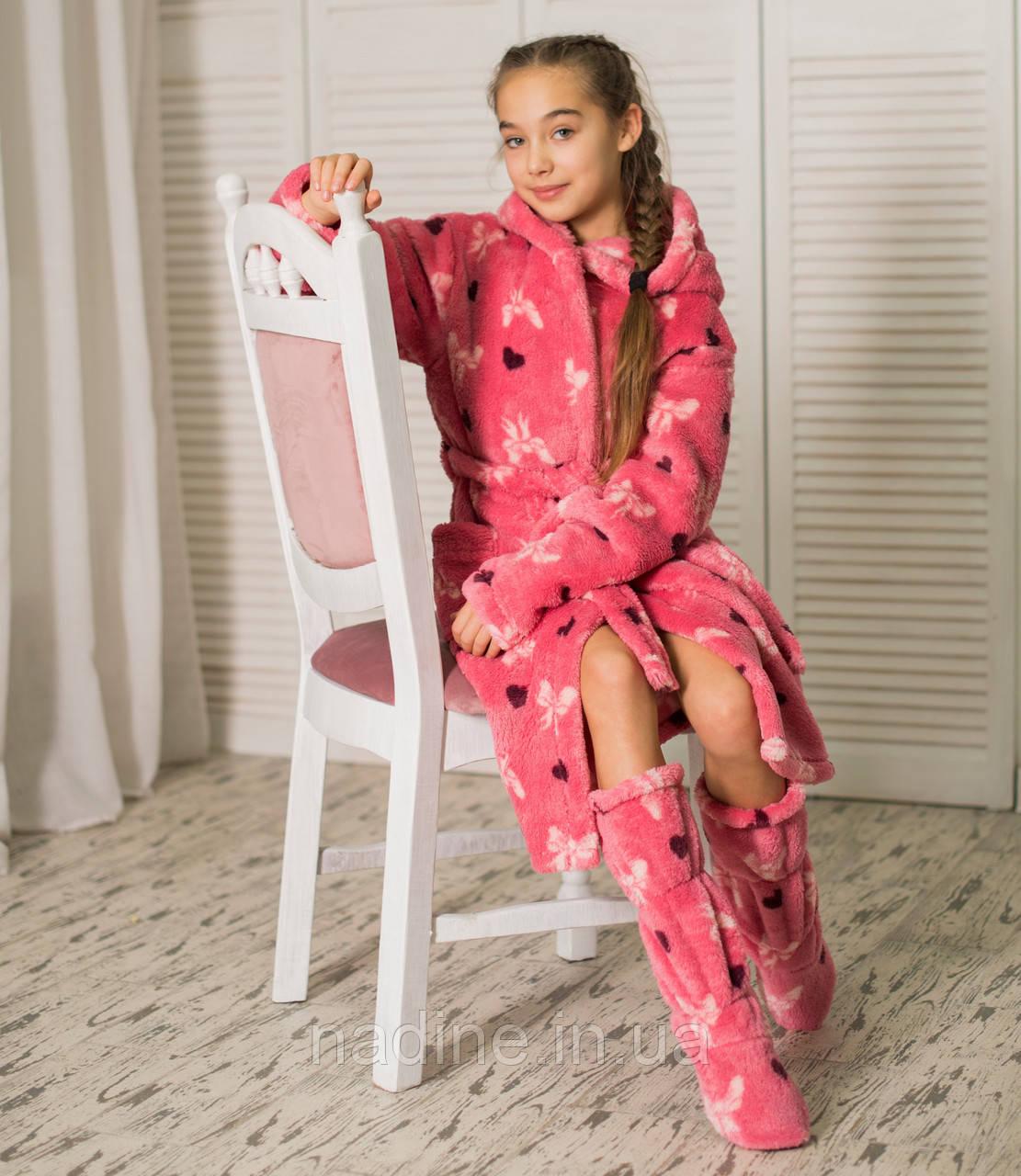 Халат теплый Бантики для девочки Eirena Nadine (34-525) рост 134, розовый
