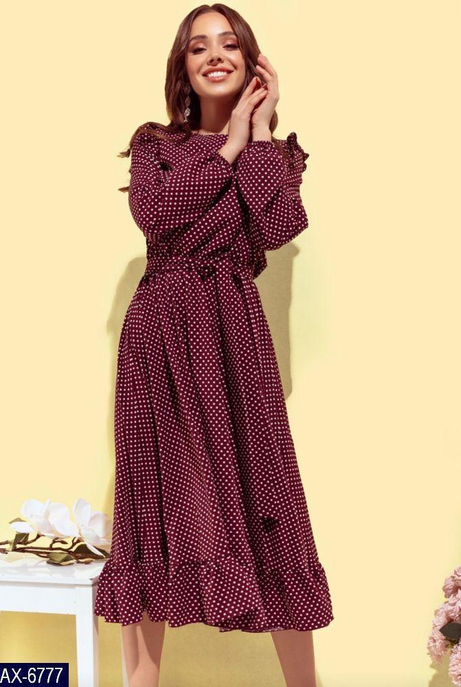 Платье  в горох с длинным рукавом,платья в горох