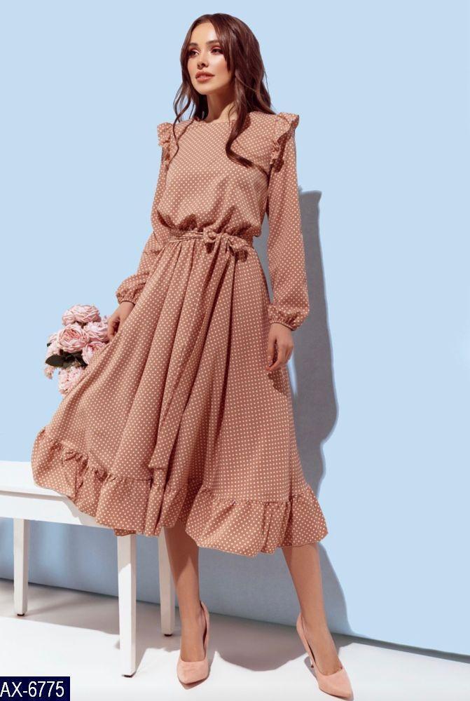 Платье  в горох  бежевое 4 расцветки