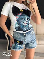 Стильные костюмы с джинсовыми шортами , размеры S.M.L.XI, фото 2