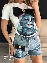 Стильные костюмы с джинсовыми шортами , размеры S.M.L.XI, фото 3