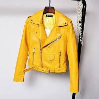 Женская куртка косуха из экокожи AFTF BASIC желтая L, фото 1