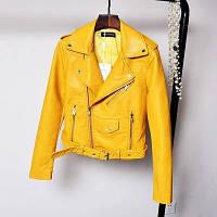 Женская куртка косуха из экокожи AFTF BASIC желтая XL, фото 1
