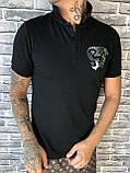 Хайповая Чоловіча Футболка Поло Versace чорна Преміум Якість 100% Бавовна Молодіжна Версаче репліка, фото 2