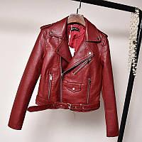 Жіноча куртка-косуха з екошкіри AFTF BASIC бордова S, фото 1