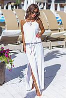 Шикарный длинный сарафан макси в пол с разрезами белый