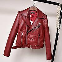 Женская куртка косуха из экокожи AFTF BASIC бордовая L, фото 1