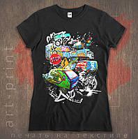 Повнокольоровий друк на чорних футболках