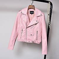 Женская куртка косуха из экокожи AFTF BASIC розовая S, фото 1