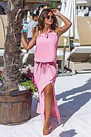 Шикарный длинный сарафан макси в пол с разрезами розовый