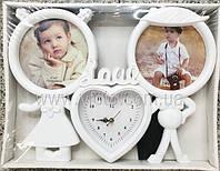 Фоторамка колаж LOVE з Годинником 2 фото(хлопчик і дівчинка) біла/бронза (QH-10)