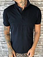 Брендовая Мужская Футболка Поло Versace синяя Премиум Качество 100% Хлопок Стильная Версаче реплика
