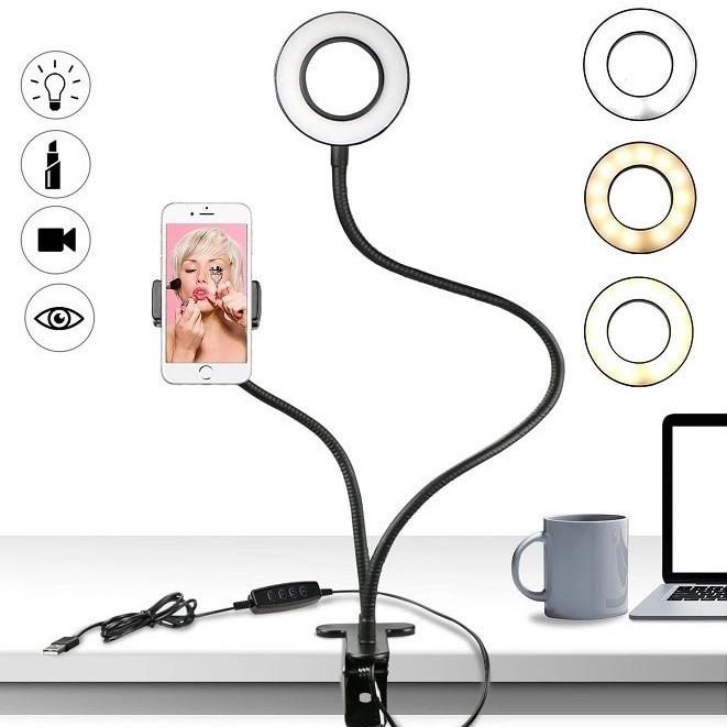 Держатель с LED подсветкой кольцо. для прямых трансляций. Live streaming, селфи кольцо, три режима свечения