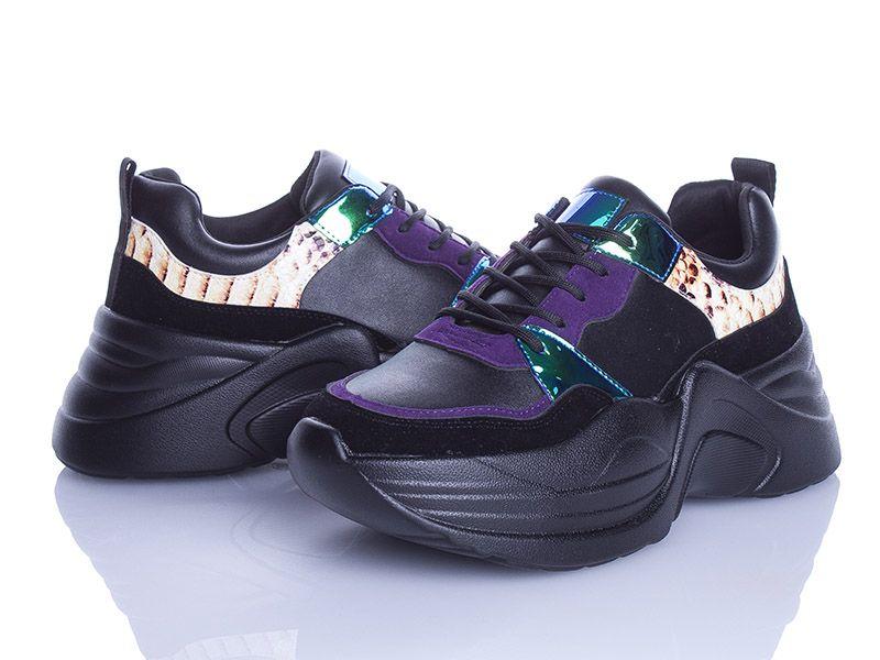 Молодежные кроссовки Violeta  женские черные на платформе