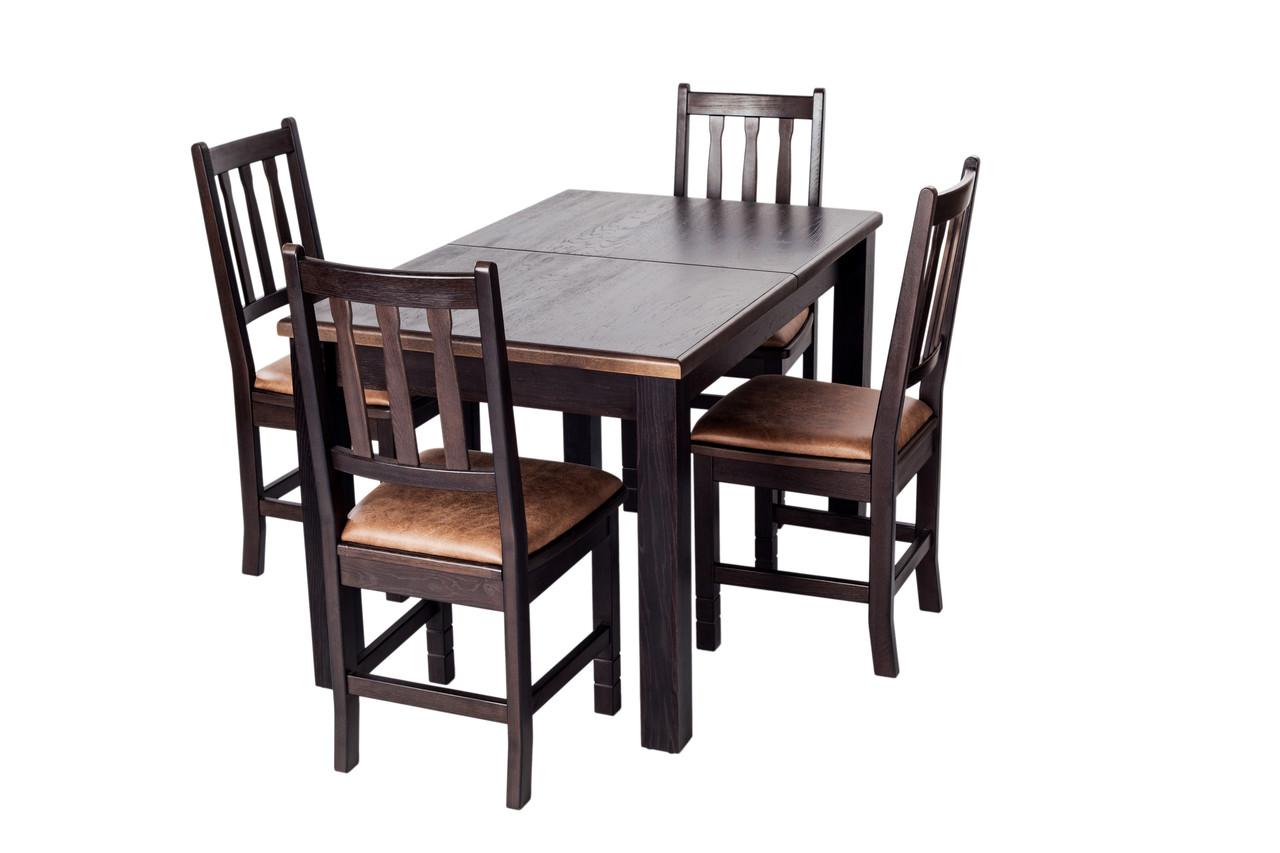 Обеденный комплект мебели из натурального дерева «Кантри рок» Дуб Венге