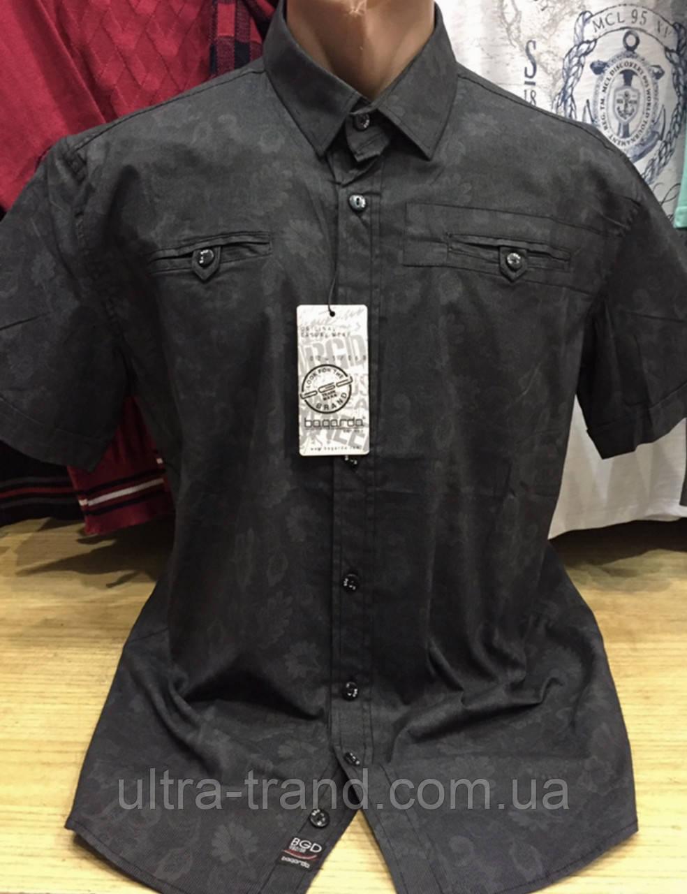 Качественные турецкие мужские рубашки сорочки серного цвета с принтом