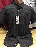 Качественные турецкие мужские рубашки сорочки серного цвета с принтом, фото 1
