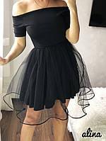 Красивое нежное платье с фатиновой юбкой