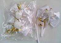 Бутоньерки на ручки свадебного авто (белые) 4 шт.