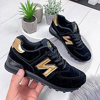 Кроссовки женские N черный + золото 8049, фото 1