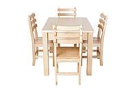 Обеденный комплект деревянной натуральной мебели «Кантри» Ясень