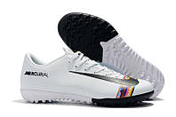 Футбольные сороконожки Nike Mercurial VaporX XII Club CR7 TF White/Black, фото 1