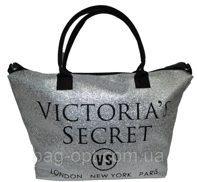 Сумка женская спортивная Victoria's Secret (34x35x22) серебро