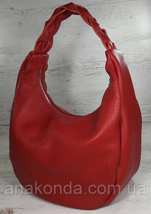 612  Натуральная кожа Объемная сумка женская красная Кожаная сумка-мешок Красная кожаная сумка на плечо хобо, фото 2
