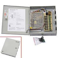 Блок питания в металлическом ящике для камер CCTV 9-кан 12В 10А 120Вт (z04529)