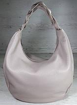 613  Натуральная кожа Объемная сумка женская бежевая Кожаная сумка-мешок Лиловая кожаная сумка на плечо хобо, фото 2
