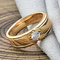 Кольцо обручальное Xuping Jewelry размер 19 с камнем по центру, медицинское золото, позолота 18К. А/В 3743