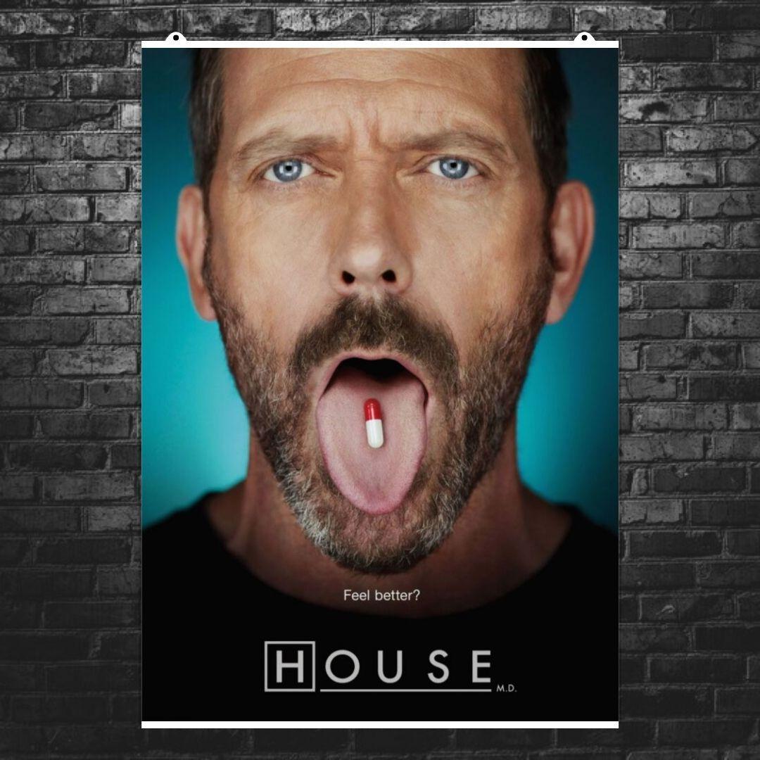 """Постер """"Доктор Хаус и таблетка на языке"""". Размер 60x43см (A2). Глянцевая бумага"""